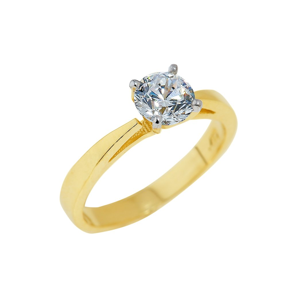 Classic 10k Yellow Gold 2.4mm Band Four-Prong CZ Solitaire Engagement Ring (Size 8) Claddagh Gold ENG-015