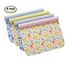 4 Pack B.B Bamboo Cotton 3 Layers Waterproof Baby Toddler Changing Pads Washable Resuable Diapers Liners Mats (4 Pack-45x35)