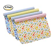 4 Pack Monvecle Baby Infant Waterproof Bamboo Cotton Changing Pads Washable Resuable Diapers Liners Mats (4 Pack-18 x14 )
