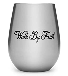 DKISEE Stickers Walk by Faith Vinyl Decal for Cars Walls Tumblers Cups Laptops Windows Home Laptop Computer Truck Car Phone Bumper Sticker Decal 5 inches
