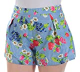 Love Moschino $225 Womens New 1125 Blue Berries Cropped Casual Short 4 B+B