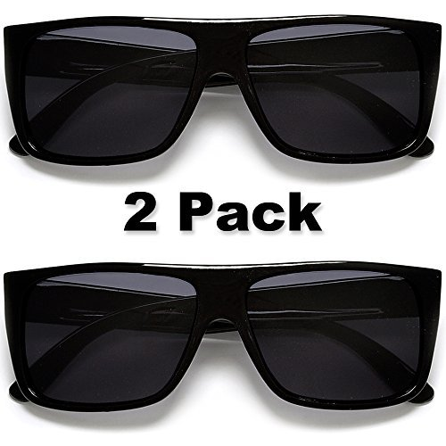 Classic Old School Eazy E Square Flat Top OG Locs Dark Lens Sunglasses (2 Pack - Locs Eazy Sunglasses E
