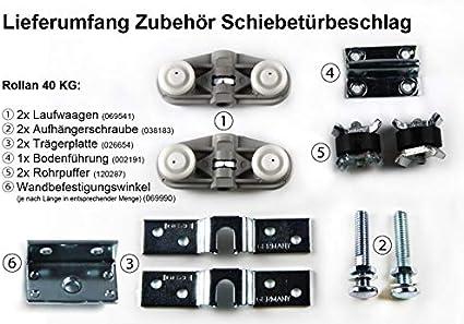 GEZE Rollan 40 N Schiebet/ürbeschlag Schiebet/ür T/ürbreite:71-90cm Laufrohr 165cm