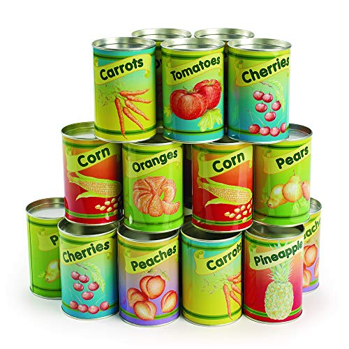 Excellerations CANFOOD Realistic Tin Can Play Food (Pack of 20)