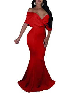 cd9e32961ef GOBLES Women Sexy V Neck Off The Shoulder Evening Gown Fishtail Maxi Dress