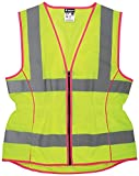 MCR Safety LVCL2MLS Ladies Sized Class 2 Lightweight Safety Vest, Silver Reflective Stripe, Zipper Front, Lime, Small