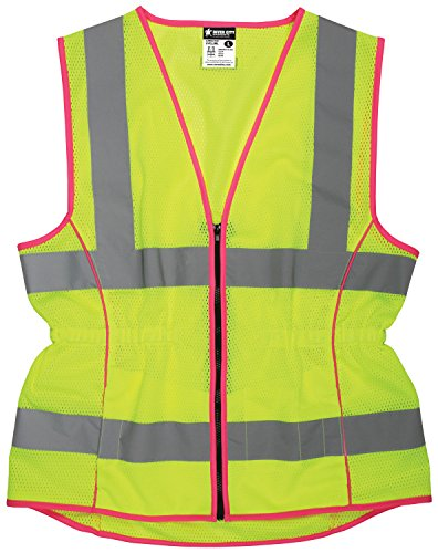 MCR Safety LVCL2MLL Ladies Sized Class 2 Lightweight Safety Vest, Silver Reflective Stripe, Zipper Front, Lime, Large by MCR Safety