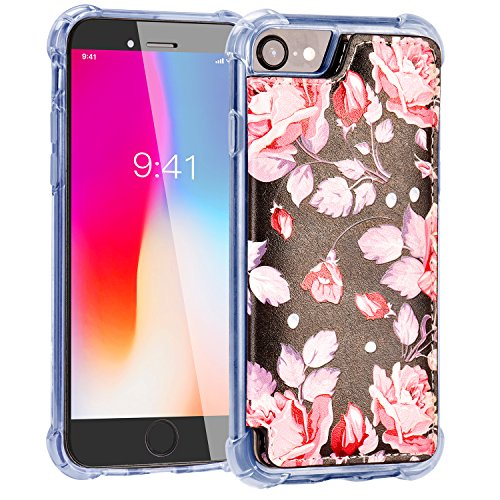 iPhone 8 Wallet Case,iPhone 7 Case with Card Holder,MISSCASE Premium Leather Protective Case with Card Holder,Double Magnetic Clasp,Floral Flower Pattern Phone Case for iPhone 7/8 / 6 4.7