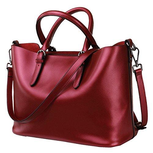 Yy.f Nuevos Bolsos De Mano Bolsos De Cuero Casual Simple Cuero Perla Gran Bolsa Portátil Multicolor Red