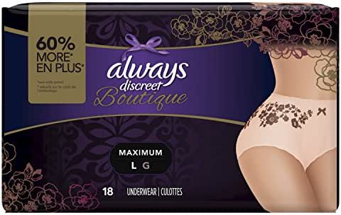 Always Discreet Boutique Incontinence & Postpartum Underwear for Women, Disposable, Maximum Protection, Large, 18 Count