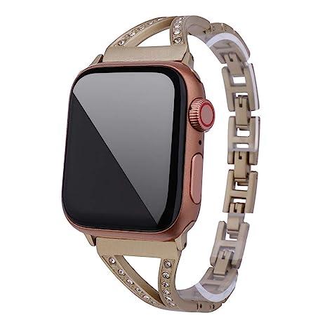 Reloj Inteligente Javpoo,Rhinestone Correa de Lujo Pulsera de reemplazo para Apple Watch 4/
