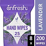 Soothing Lavender Naturally Derived Hand Wipes by Enfresh - Wipes Away 99.9% of Germs – 25 Count (Pack of 8, 200 Wet Wipes)