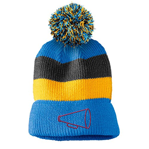 Megaphone Outline #2 Embroidered Unisex Adult Acrylic Vintage Striped Removable Pom Pom Beanie Winter Hat - Blue/Black/Yellow Stripes, One Size for $<!--$18.99-->