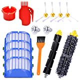 KEEPOW Replacement Parts for iRobot Roomba 600 Series 595 614 620 650 652 671 675 680 690 Robotic Vacuum Cleaner (4 Side Brushes,4 Hepa Filters,1 Flexible Beater Brush,1 Bristle Brush,2 Cleaning Tool)