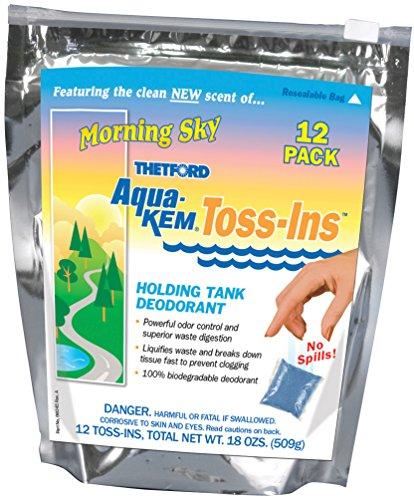 Aqua-Kem Morning Sky Toss-Ins RV Holding Tank Treatment - Deodorant / Waste Digester / Detergent - Pack of 12 - Thetford 96012