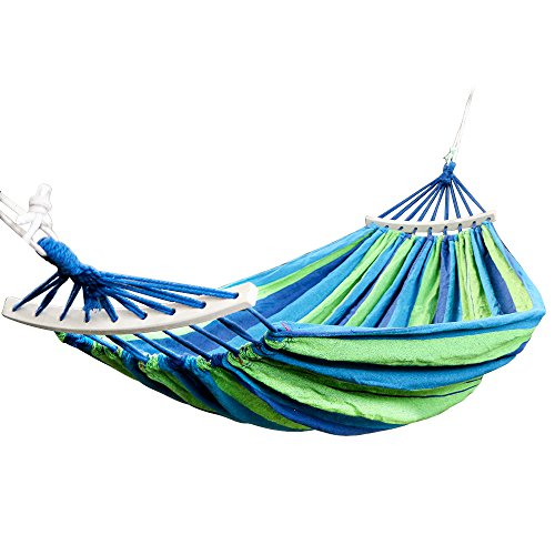 Rusee Double 2 Person Cotton Fabric Canvas Travel Hammocks 450lbs Ultralight Camping Hammock Portable Beach Swing Bed with Hardwood Spreader Bar Tree Hanging Suspended Outdoor Indoor Bed by Rusee