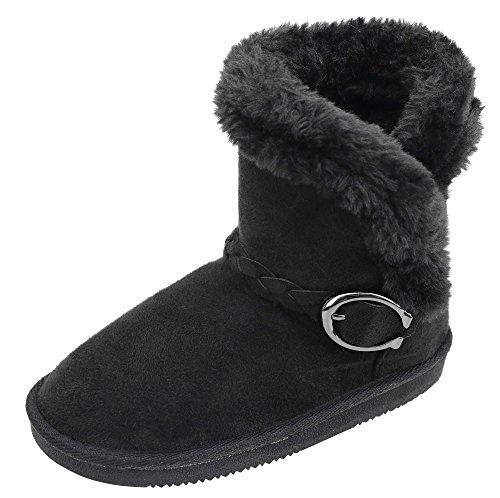 Arctic Paw Girls Winter Warm Boots Faux Fur Lined Snow Boots Kids Flat Boots Black 12 (Flat Snowboard Binding)