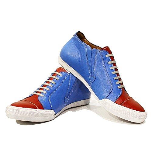 PeppeShoes Modello Rodolfo - Handmade Italiennes Cuir Pour des Hommes Bleu Chaussures D