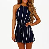 Women Fashion Stripe Print Off Shoulder Rompers Jumpsuits Casual Loose Spaghetti Halter Hanging Neck Sleeveless Playsuit Clothes (Blue, Large)