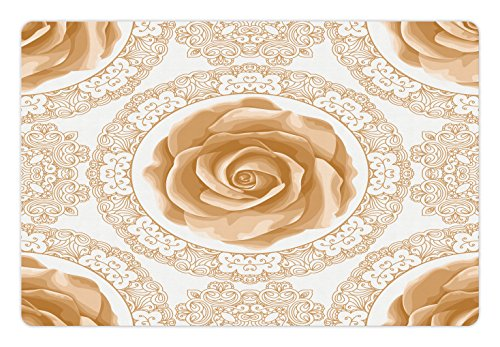(Ambesonne Floral Pet Mat for Food and Water, Rose Florets with Classic Golden Lace Authentic Feminine Retro Oriental Motif, Rectangle Non-Slip Rubber Mat for Dogs and Cats, Sand Brown White)