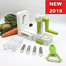 ***NEW 2018 COMPACT DESIGN 5-BLADE SPIRALIZER WITH A BONUS PEELER! *** 5 in 1 Tri-Blades Vegetable Spiralizer with Internal Blades Storage