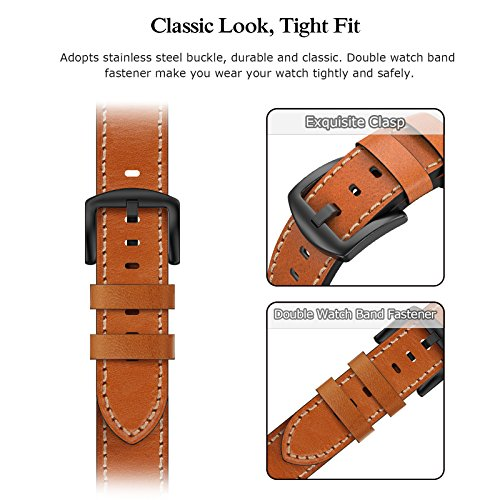 Swees Leather Bands Compatible Gear S3 Frontier/Classic, 22mm Genuine Leather Band Buckle Strap Replacement Wristband Compatible Samsung Gear S3 Frontier/Classic Smart Watch, Brown by SWEES (Image #5)