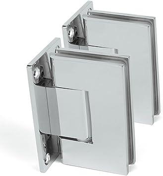 SUNNY ducha bisagras de 1 par (2) 90 Degree sin marco Pivot para mampara de ducha bisagras, wall-to-glass, cromo pulido de acero inoxidable: Amazon.es: Bricolaje y herramientas