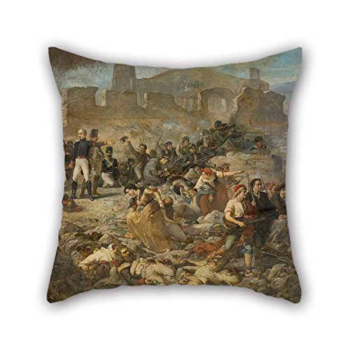 Loveloveu Oil Painting Ramon Martí I Alsina - The Great Day Of Girona Throw Pillow Covers 20 X 20 Inches / 50 By 50 Cm Best Choice For Divan,bedding,teens Girls,her,kids Boys,floor With Two (Mrs Marvel Costume)