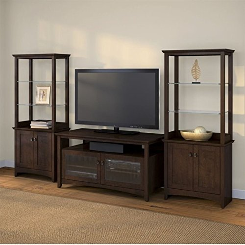 Bush Furniture Tv Stand - Bush Furniture Buena Vista TV Stand with Set of 2 Tall Library Storage Cabinets in Madison Cherry