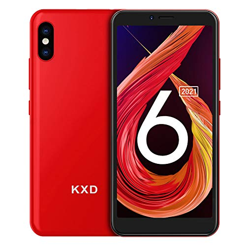 Mobile Phone KXD 6A Unlocked Smartphone SIM Free, Cheap 3G Android Smart Phone, 5.5'' Full-Screen, 8GB ROM, Face ID, 2,500mAh Battery, Dual Cameras, Dual SIM, UK Version - Red