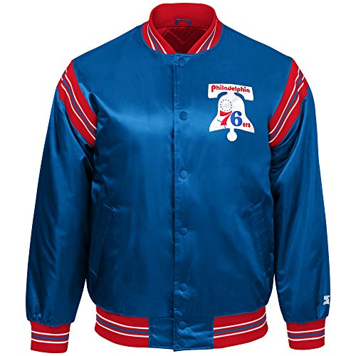 STARTER NBA Philadelphia 76ers Youth Boys The Enforcer Retro Satin Jacket, Large, Royal -