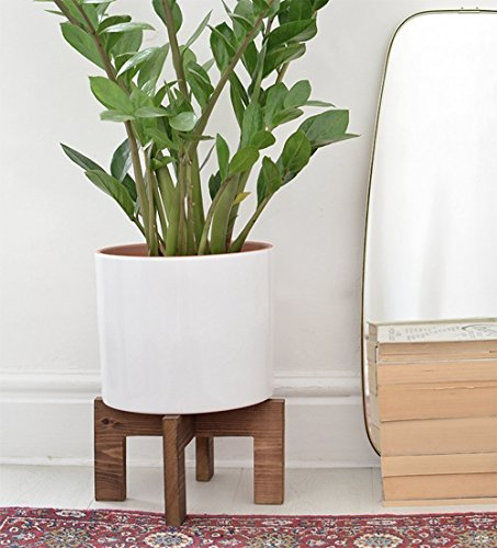 (Wooden Corner Indoor Plant Stand Modern - Adjustable for pots from 10 to 13 Inches - Pedestal Century Wood Potted Flower Display Planter Holder Rustic - Housewarming Gift - POT)