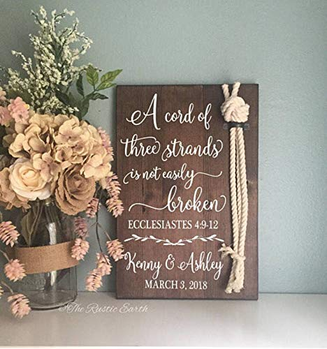 CELYCASY Cord of Three Strands Sign Ecclesiastes 4912 Alternative Unity Candle Unity Ceremony Sign Wedding Gift