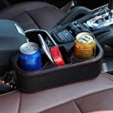 Drink Holder coffee Console Side Pocket,Auto Front Seat Organizer Car Console and Seat Gap Cup/ Mobile Phone Holder Storage Pocket Box Cage coffe catcher for car (Black Red)