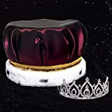 Regal Affair Royalty Set, 2 1/4 inch High Becca Tiara and Burgundy Satin Crown with Gold Sequins, White Fur