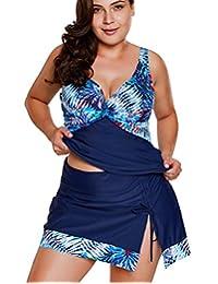 Crazycatz@ Womens Plus Size Two Pieces Tankini Swimsuit with Swim Skirt