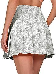 Fancyskin Women's Pleated Tennis Skort Mini Athletic Skirts with Ball Pockets for Training