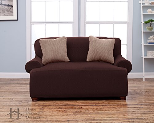 Form Fit, Slip Resistant, Stylish Furniture Shield / Protector Featuring Lightweight Fabric. Savannah Collection Basic Strapless Slipcover. By Home Fashion Designs Brand. (Loveseat, Chocolate) by Home Fashion Designs