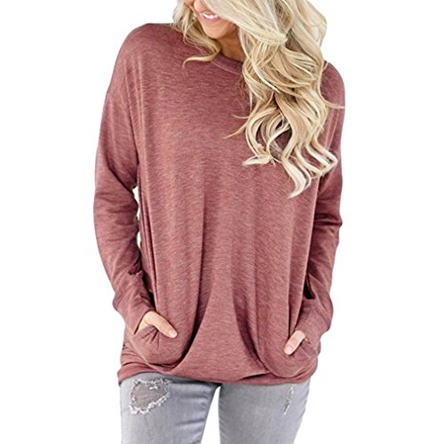 kaifongfu Women Tops, Casual Long Sleeve Cotton Solid Loose Pockets T-Shirt Blouses (L, Red) (Shops Near Decor Me Home)