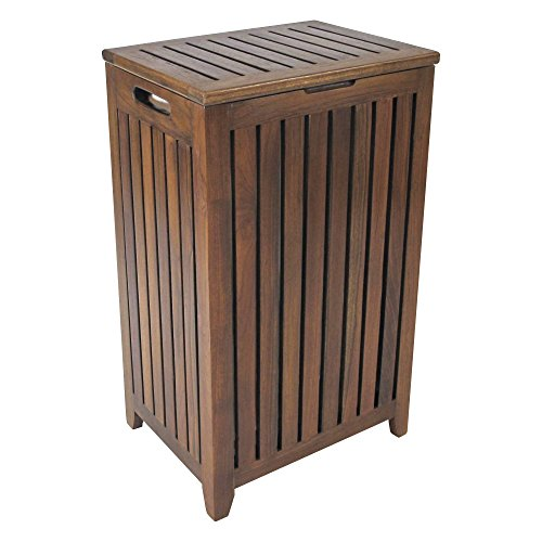 Redmon Genuine Apartment Hamper with Laundry Bag, Wood Grain Teak