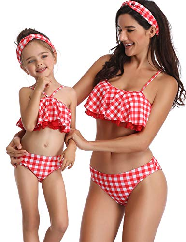 Mommy and Me Two Piece Floral Swimsuit Ruffle Bikini Family Matching Swimwear Women Toddler Bathing Suit Beachwear Sets