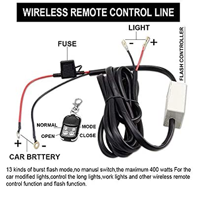 LEADTOPS Heavy Duty LED Light Bar 400Watts Load Wiring Harness Wireless Strobe Wiring Kit ON-OFF-Strobe RF Remote Control Switch for Work Light Driving Light,2 Years Warranty: Automotive