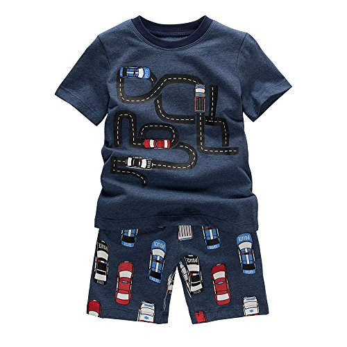B.GKAKA Boys Summer Clothes The Moving Cars Short Sleepwear For Kids (7 Years) Navy Blue 7 Years by B.GKAKA