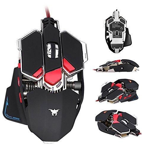 Gaming Mouse,Mictchz 4800 DPI Optical USB Wired Professional Gaming Mouse Programmable 10 Buttons RGB Breathing LED Mice for mac PC (Black) ()