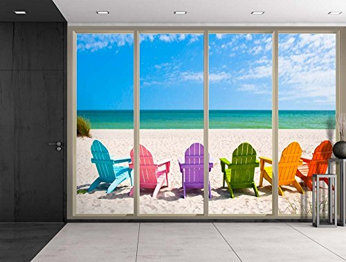 Colorful Chairs on the Sand Looking Over the Blue Ocean Viewed From Sliding Door Creative Wall Mural Peel and Stick Wallpaper