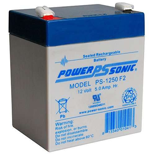 Powersonic PS-1250F2 - 12 Volt/5 Amp Hour Sealed Lead Acid Battery with 0.250 Fast-on Connector