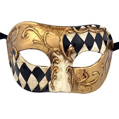 Xvevina Luxury Mask Quality Cool Men Venetian Masks for Men Adults (Black/Gold -
