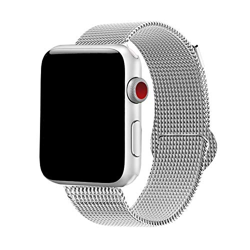 Yaber Stainless Steel Mesh with Adjustable Magnetic Closure Replacement Band Compatible for Apple Watch Series 1/2/3/4 (Silver, 38MM/40MM)