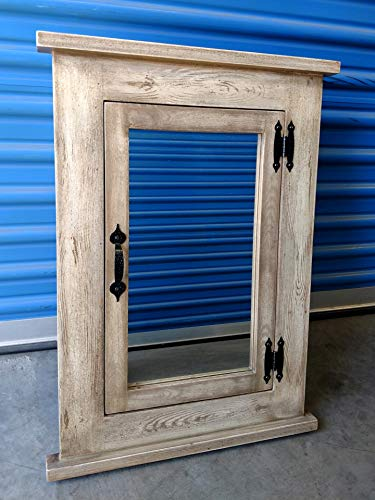 Mission Recessed Medicine Cabinet/White Washed/Solid Wood & Handmade - Mission Medicine Cabinet