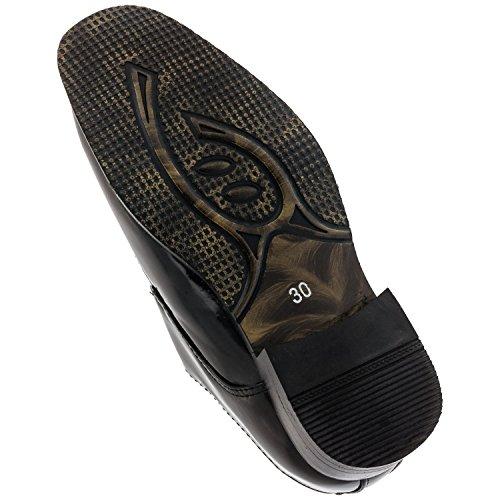 Chaussures brillant pour garçon avec boucle noir#624